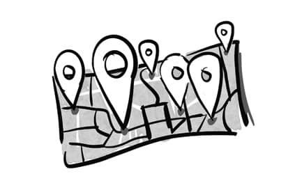 Bedrijven op kaart illustratie